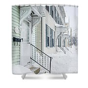 Row Houses On A Snowy Day Shower Curtain by Edward Fielding
