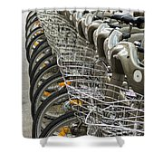 Row Of Bicycles Shower Curtain