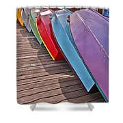 Row Of Colorful Boats Art Prints Shower Curtain