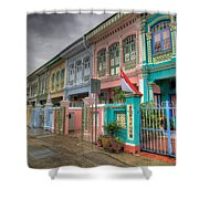 Row Of Historic Colorful Peranakan House Shower Curtain