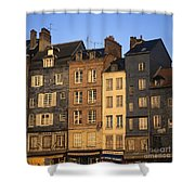 Row Of Houses. Honfleur Harbour. Calvados. Normandy. France. Europe Shower Curtain
