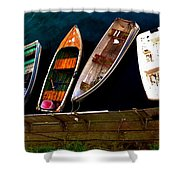 Row Of Rowboats  Shower Curtain