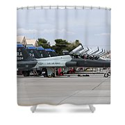 Row Of T-38c Trainer Jets At Nellis Air Shower Curtain