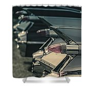 Row Of Vintage Car Fins Shower Curtain