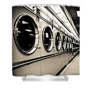 Row Of Washing Machines In Laundromat Shower Curtain