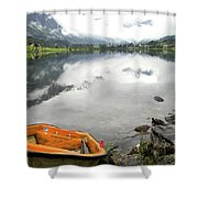 Row Your Boat To The Briksdalsbreen Glacier Shower Curtain