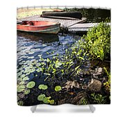 Rowboat At Lake Shore At Dusk Shower Curtain by Elena Elisseeva