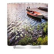 Rowboat At Lake Shore At Sunrise Shower Curtain by Elena Elisseeva