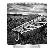 Rowboat At Prospect Point - Black And White Shower Curtain