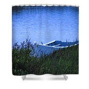 Rowboat In Grass Shower Curtain