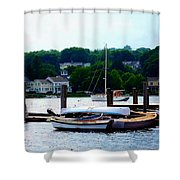 Rowboats Piled At Dock Shower Curtain