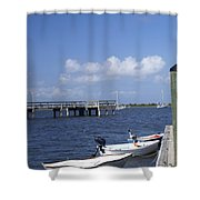 Rowboats Tied To Dock Shower Curtain