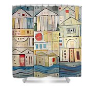 Rowhouses Triptych Shower Curtain