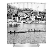 Rowing Along The Schuylkill River In Black And White Shower Curtain