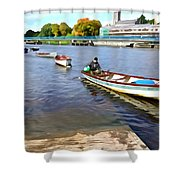 Rowing On The River - Irish Art By Charlie Brock Shower Curtain