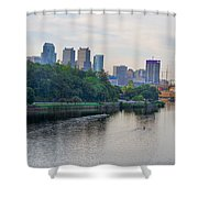 Rowing On The Schuylkill Riverwith Philadelphia Cityscape In Vie Shower Curtain