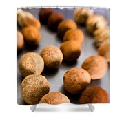 Rows Of Chocolate Truffles On Silver Shower Curtain
