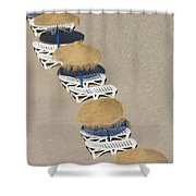Rows Of Parasols On The Beach Of Shower Curtain