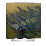 Rows Of White Shower Curtain by Steve Jorde