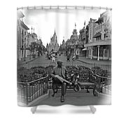 Roy And Minnie Mouse Black And White Magic Kingdom Walt Disney World Shower Curtain