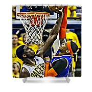 Roy Hibbert Vs Carmelo Anthony Shower Curtain by Florian Rodarte