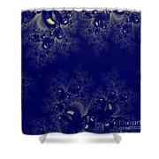 Royal Blue Frost Fractal Shower Curtain