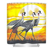 Royal Cranes From Rwanda Shower Curtain