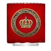 Royal Crown In Gold On Red  Shower Curtain