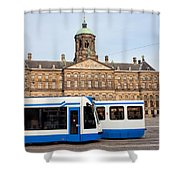 Royal Palace And Trams In Amsterdam Shower Curtain