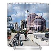 Royal Palm Way Bridge Shower Curtain