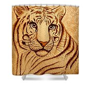 Royal Tiger Coffee Painting Shower Curtain