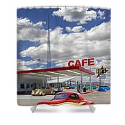 Roy's Gas Station - Route 66 Shower Curtain by Mike McGlothlen