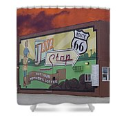 Rt 66 Dwight Il Java Stop Shower Curtain
