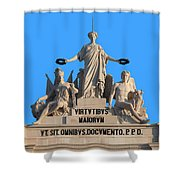 Rua Augusta Arch Statues In Lisbon Shower Curtain