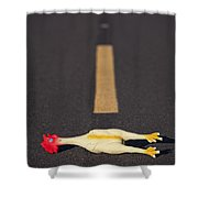 Rubber Chicken On Road Shower Curtain
