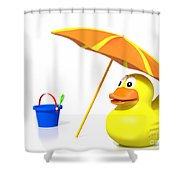 Rubber Duck At The Beach Shower Curtain