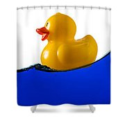 Rubber Ducky Rides A Wave Shower Curtain