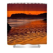 Ruby Beach Afterglow Shower Curtain