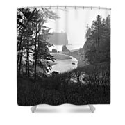 Ruby Beach In The Winter In Black And White Shower Curtain
