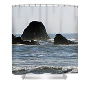 Ruby Beach Sea Stack Shower Curtain