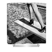Ruby Heels Bw Palm Springs Shower Curtain
