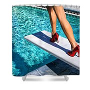 Ruby Heels Ready For Take-off Palm Springs Shower Curtain