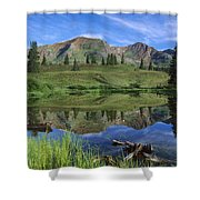 Ruby Peak Reflected In Lake Raggeds Shower Curtain
