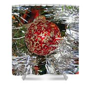 Ruby Red Ornament Shower Curtain