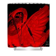 Ruby Red Swan Shower Curtain
