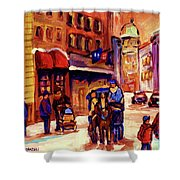 Rue St. Paul Old Montreal Streetscene In Winter Shower Curtain