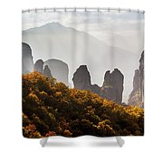 Rugged Cliffs And A Monastery  Meteora Shower Curtain