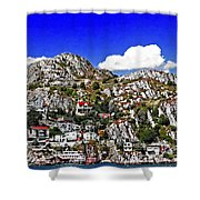 Rugged Cliffside Village Digital Painting Shower Curtain
