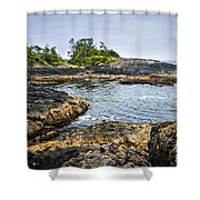Rugged Coast Of Pacific Ocean On Vancouver Island Shower Curtain