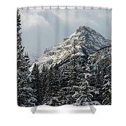 Rugged Mountain Peak With Snow Shower Curtain